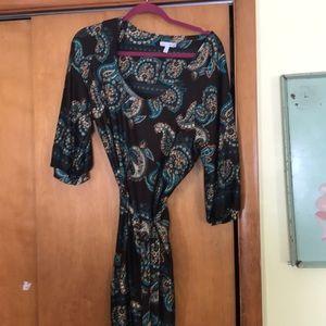 Paisley and brown dress